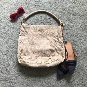 PRADA Cream Nappa Gaufre ranched leather hobo bag